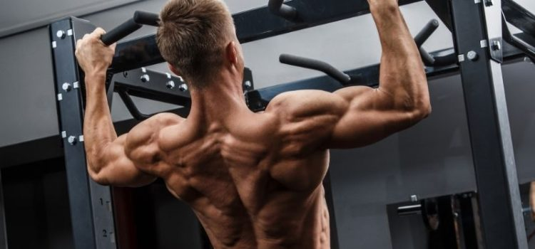 Muscular man performing pull-ups in the gym